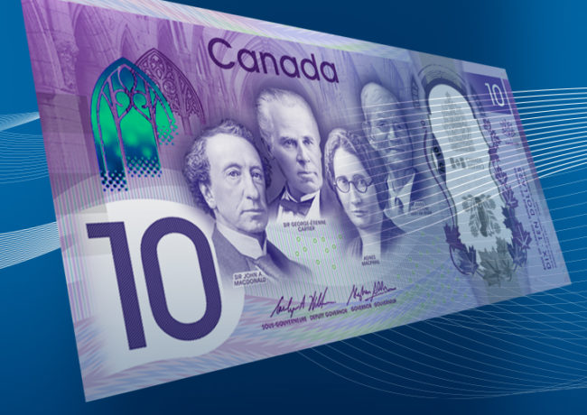 10 CND banknote celebrating 150th birthday of Canada