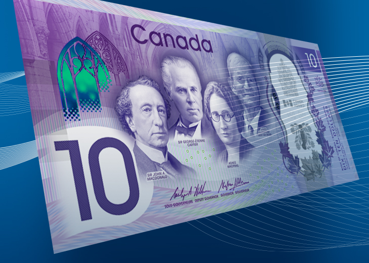 10 CND banknote celebrating 150th birthday of Canada