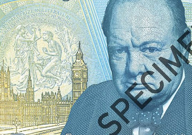 Billets de 5 pounds Winston CHURCHILL