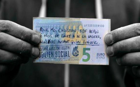 5€ Banknotes support of Homeless social claims