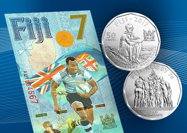 Pièce et billet commémoratifs 2017 des Fidji – 7$ Rugby – 50 cents