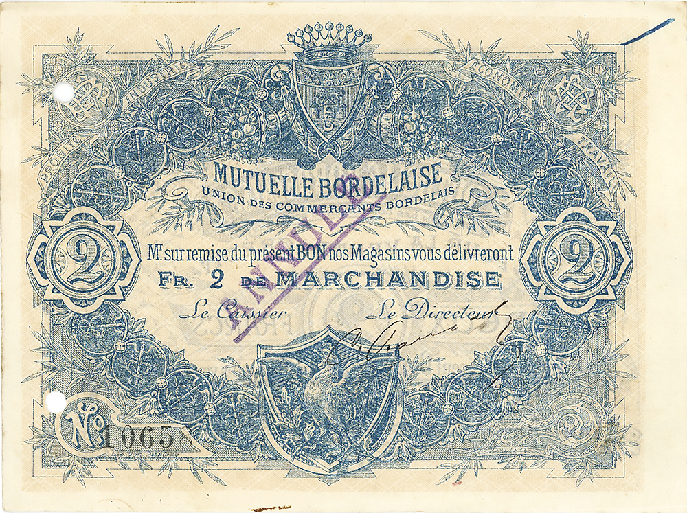 La Mutuelle Bordelaise - bon de 2 Francs - union des commerçants bordelais