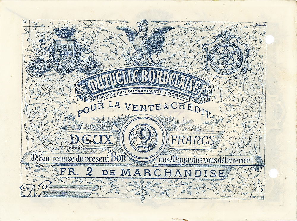 La Mutuelle Bordelaise - bon de 2 Francs revers - union des commerçants bordelais