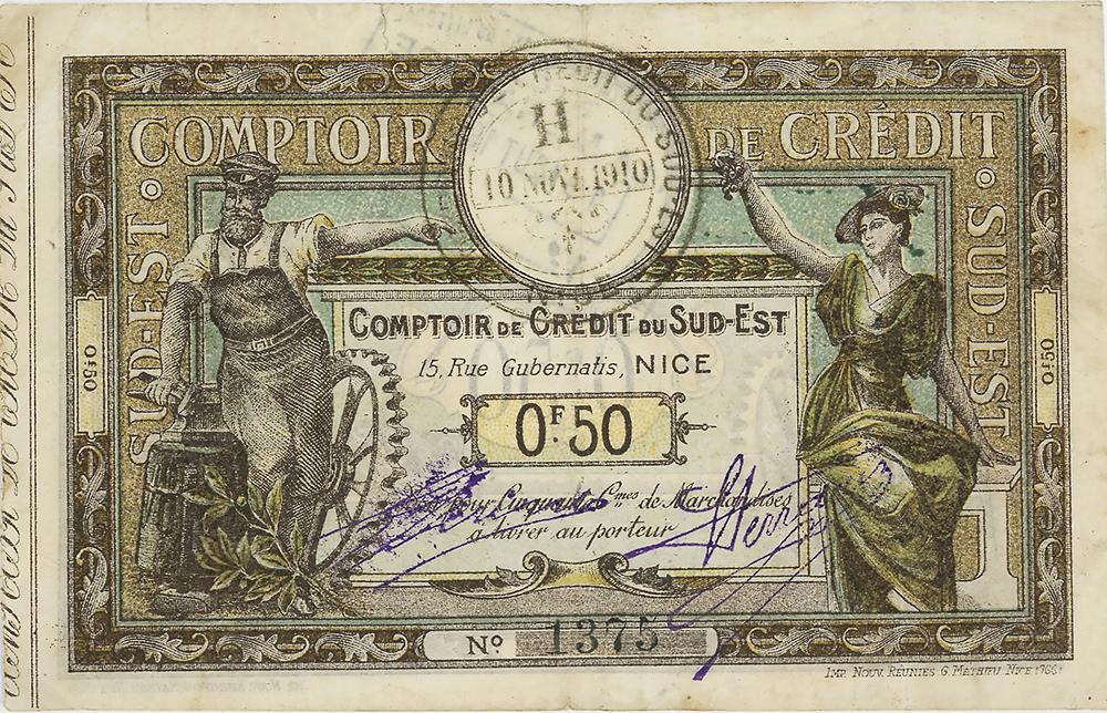Comptoir de Crédit du Sud-Est de Nice - Bon de 50 centimes