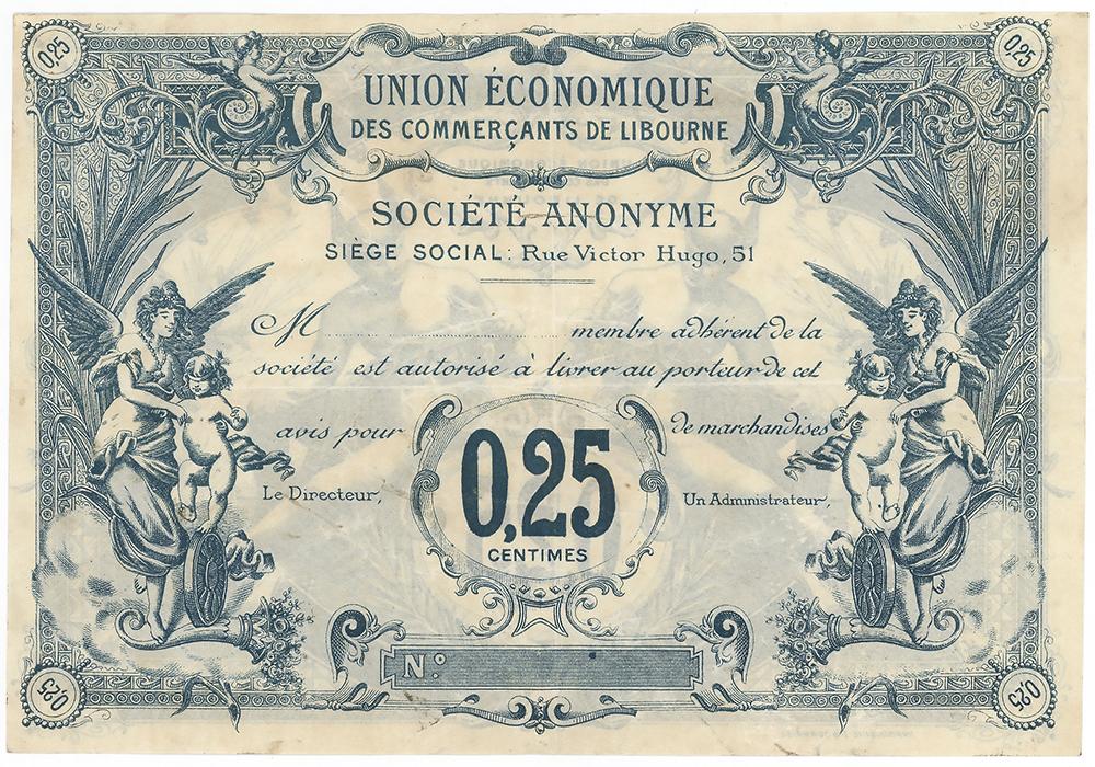 l'Union de Economique des commerçants de Livourne - Bon de 25 centimes