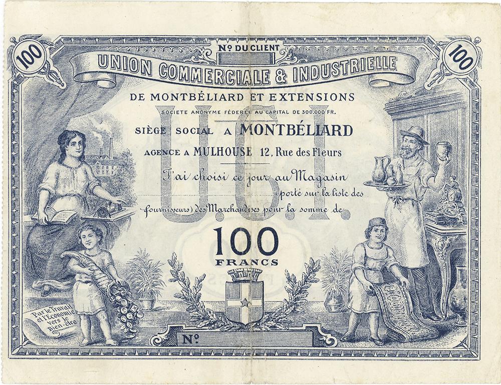 Union Commerciale & Industrielle de Montbéliard - Bon de 100 Francs