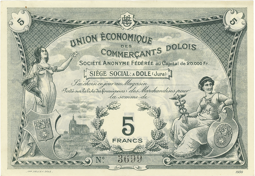 Bon de 5 Francs de Union Economique des Commerçants Dolois