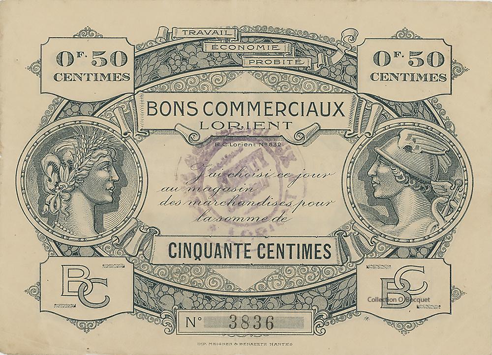 Union Economique de Lorient bonde 50 centimes