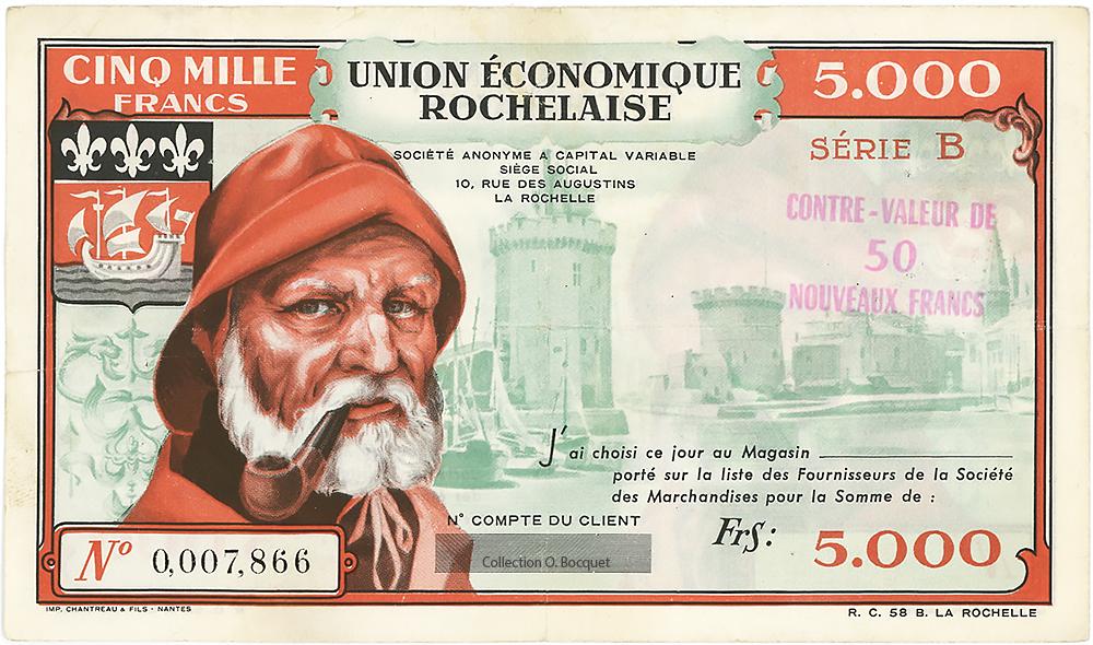 Bon de 5000 anciens Francs surchargé en 50 nouveaux Franc - Bon union economique rochelaise