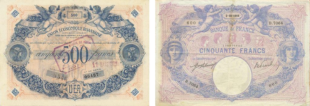l'Union Economique Roannaise - bon de 500 francs