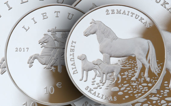 2017 €1.5 and €10 lituanian coins dedicated to race pony and dog