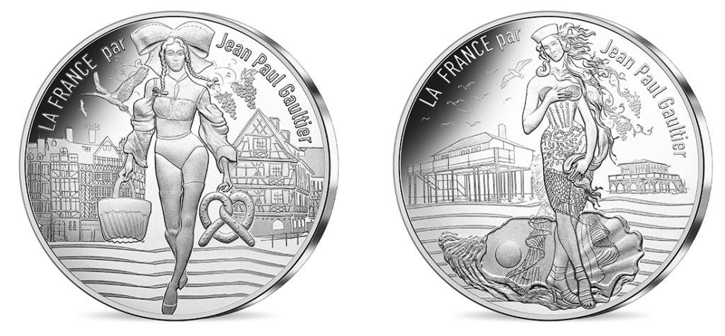 10€ Argent - L'Alsace gourmande et L'Aquitaine nouvelle Nouvelles série de pieces 10€ jean-paul-gauthier Les régions françaises