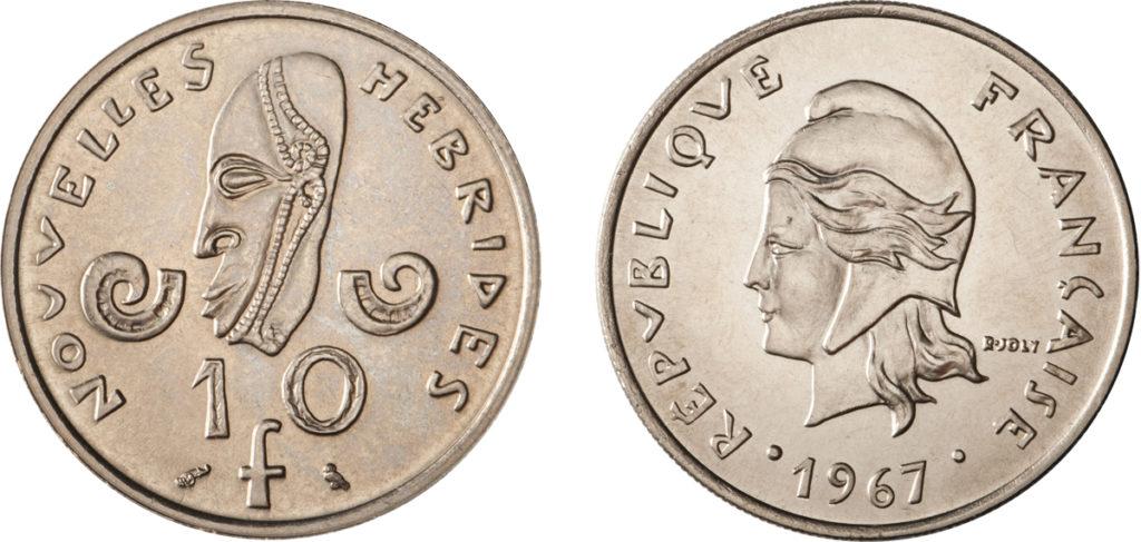 10 francs en nickel - 1967 - Nouvelles Hébrides - graveur, Raymond Joly