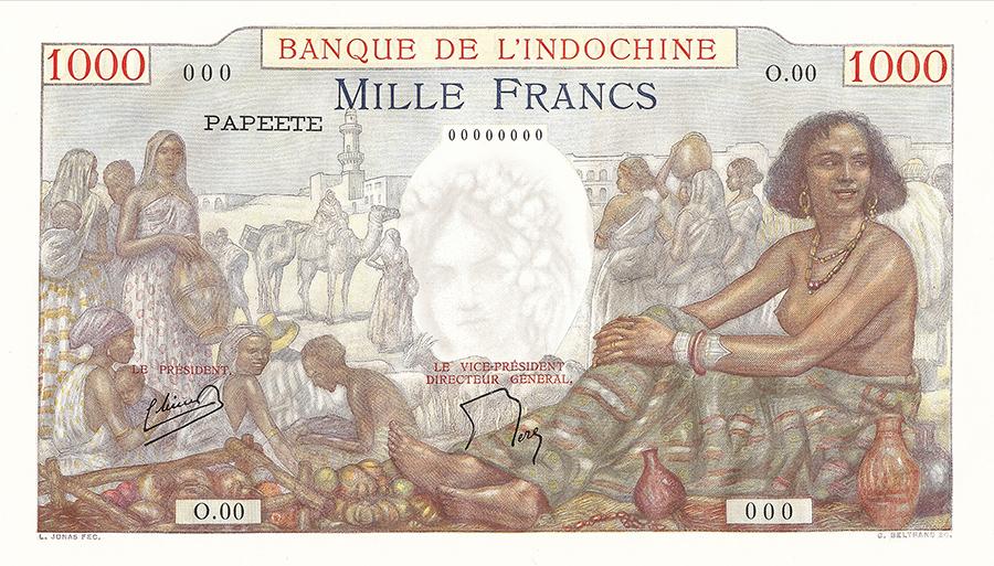 Mille francs, scène de marché, type 1938 - IEOM