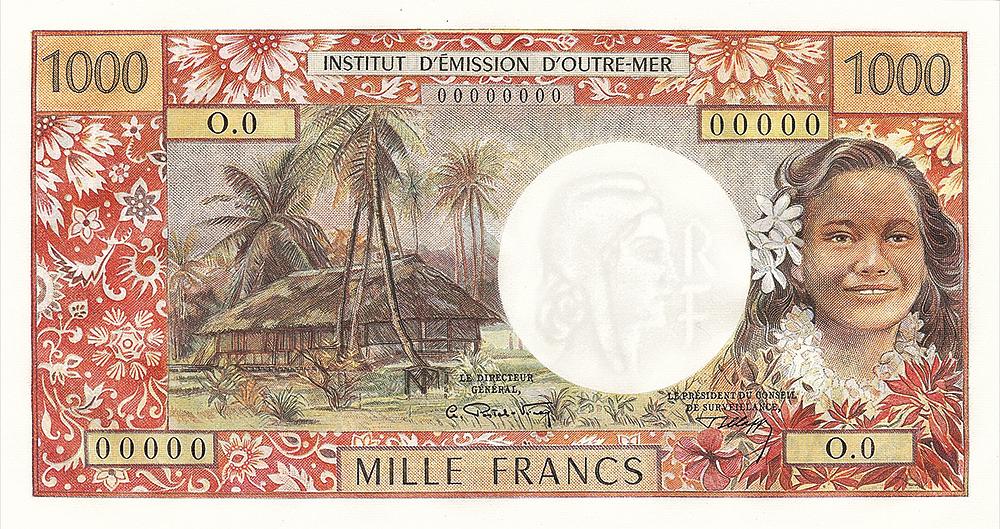 1000F IEOM type 1968 Nouvelles-Hébrides - Les émissions monétaires des Nouvelles-Hébrides - IEOM - Billets Pièces