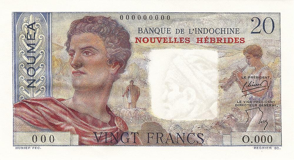 20F BIC type 1951 Nouvelles-Hébrides - Les émissions monétaires des Nouvelles-Hébrides - IEOM