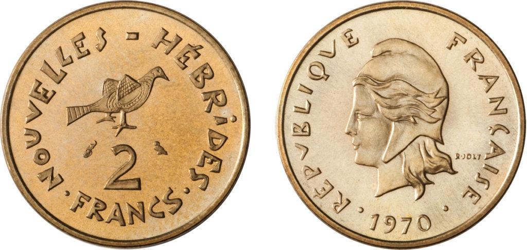 2 francs 1970 - Nouvelles Hébrides - gravure Joly