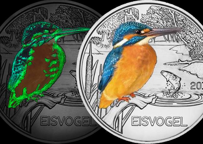 Monnaie d'Autriche: 3€ 2017 Martin Pêcheur, série espèces colorées