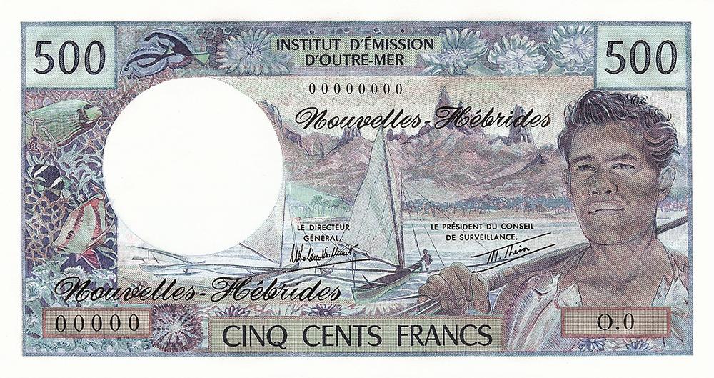 500F IEOM type 1968 mod 1969 Nouvelles-Hébrides - Les émissions monétaires des Nouvelles-Hébrides - IEOM - Billets Pièces
