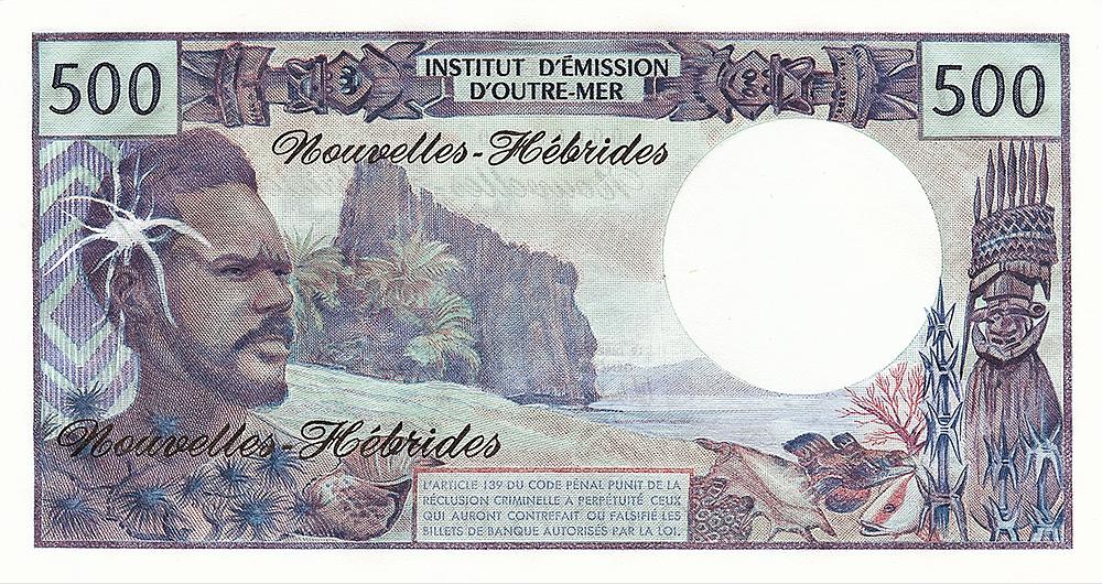 500F IEOM type 1968 mod 1969 Nouvelles-Hébrides Les émissions monétaires des Nouvelles-Hébrides - IEOM - Billets Pièces