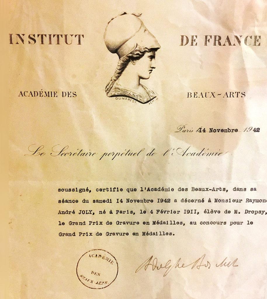 Grand prix de gravure en médaille de l'institut de France décerné à Raymond JOLY en 1942