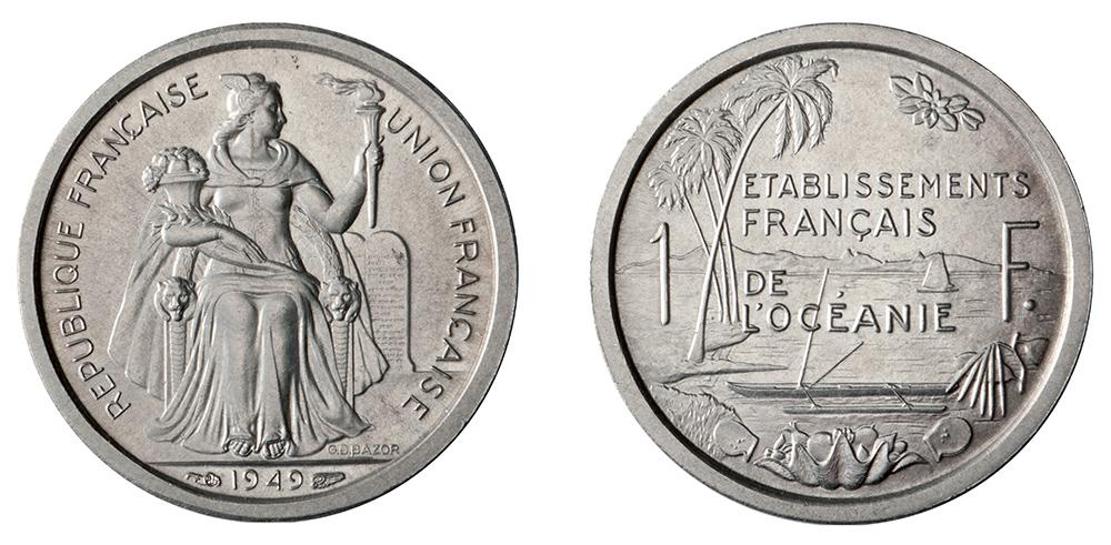 1 franc 1949 Etablissements français de l'Océanie, gravure de Bazor