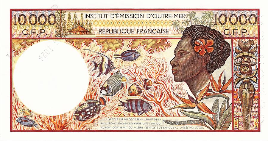 Dix mille francs, Tahitienne à la couronne type 1985 sans indication géographique - IEOM