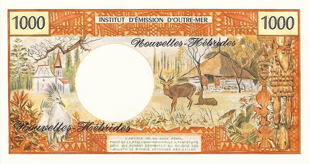 Mille francs, jeune Tahitienne type 1968 mod 1969 avec indication géographique