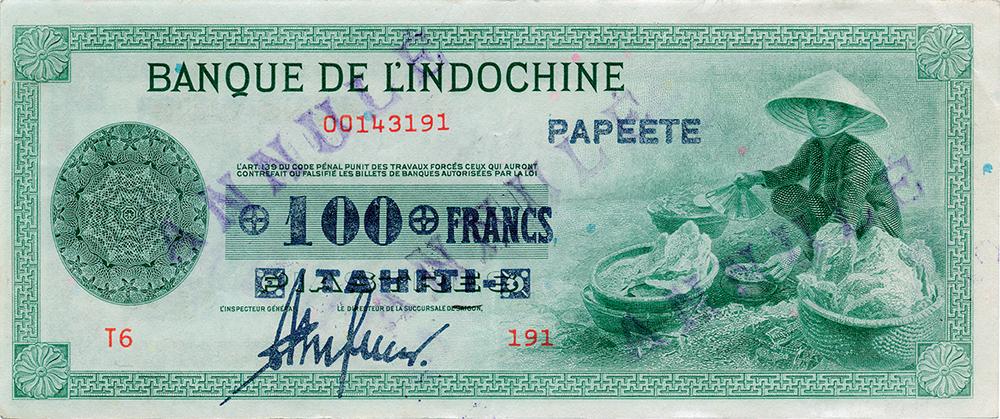 Cent francs vert, type 1941 Polynésie française Émis en 1941 Impression Américaine - La création du francs CFP et son introduction