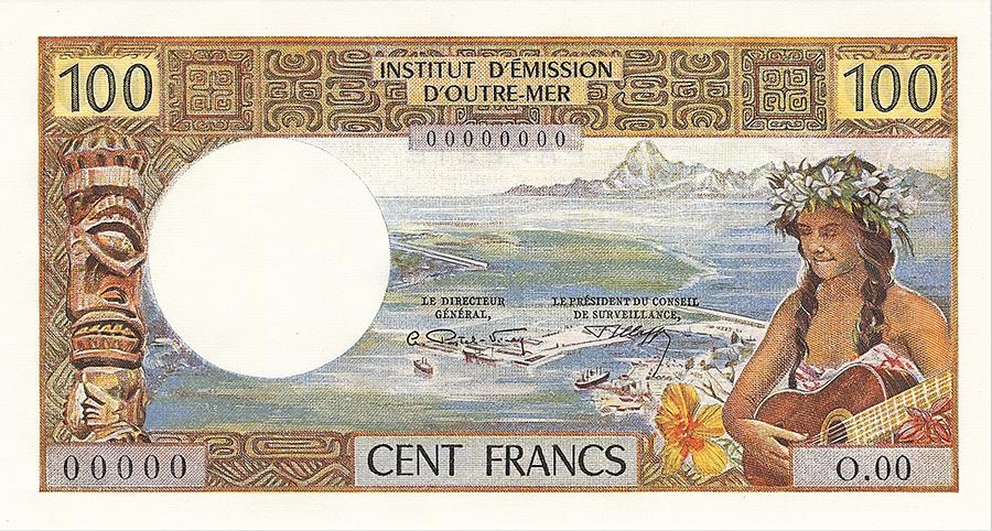 Cent francs, jeune fille à la guitare type 1968 mod 1971 avec indication géographique - IEOM