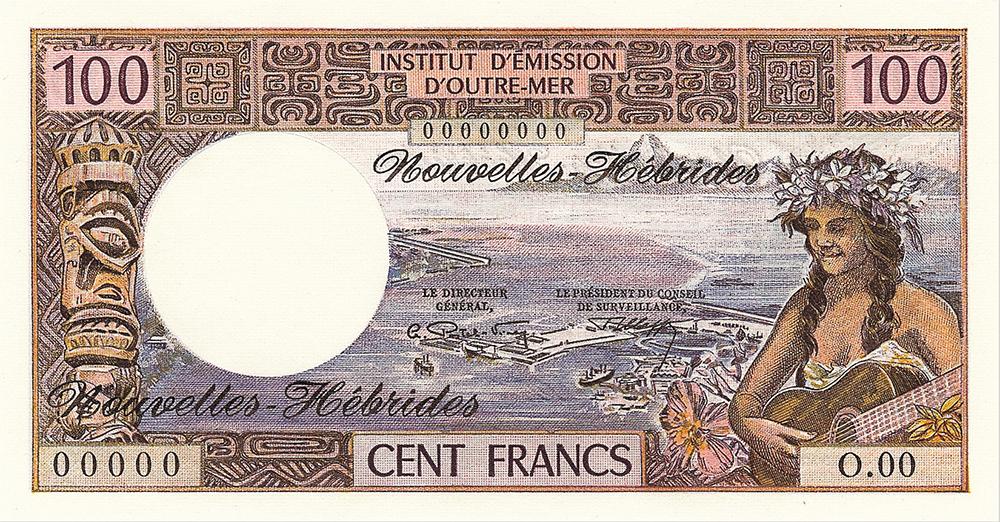 Cent francs, jeune fille à la guitare type 1968 mod 1969