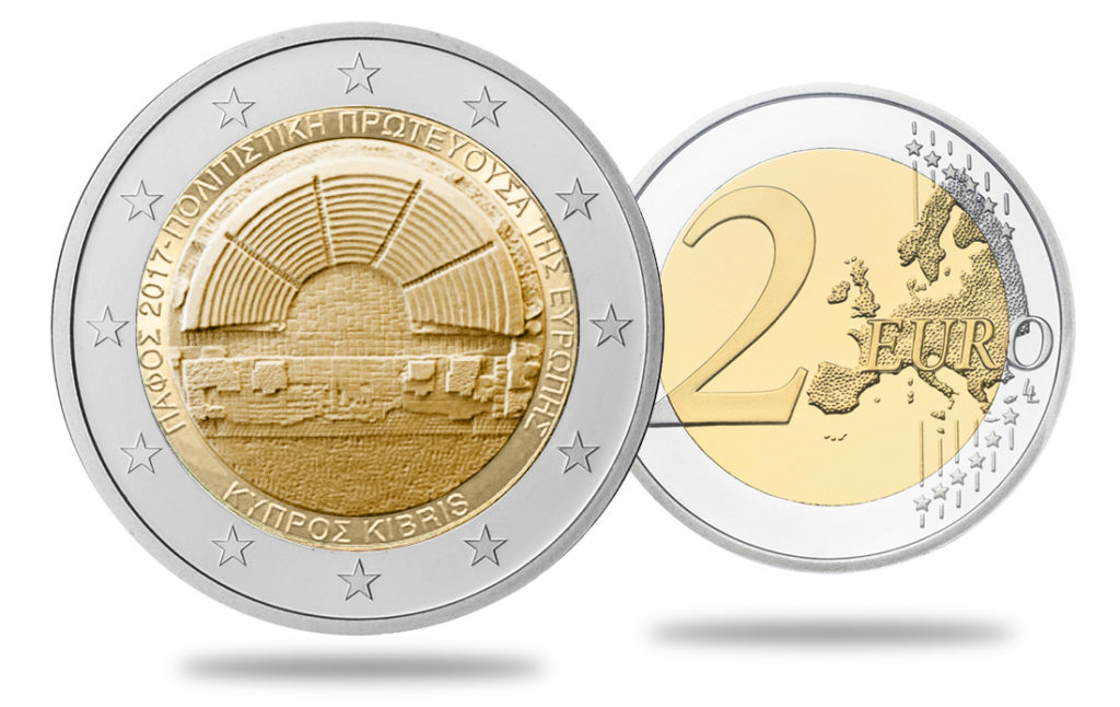 2017 new cyprus €2 euro commemorative coin - PAPHOS 2017