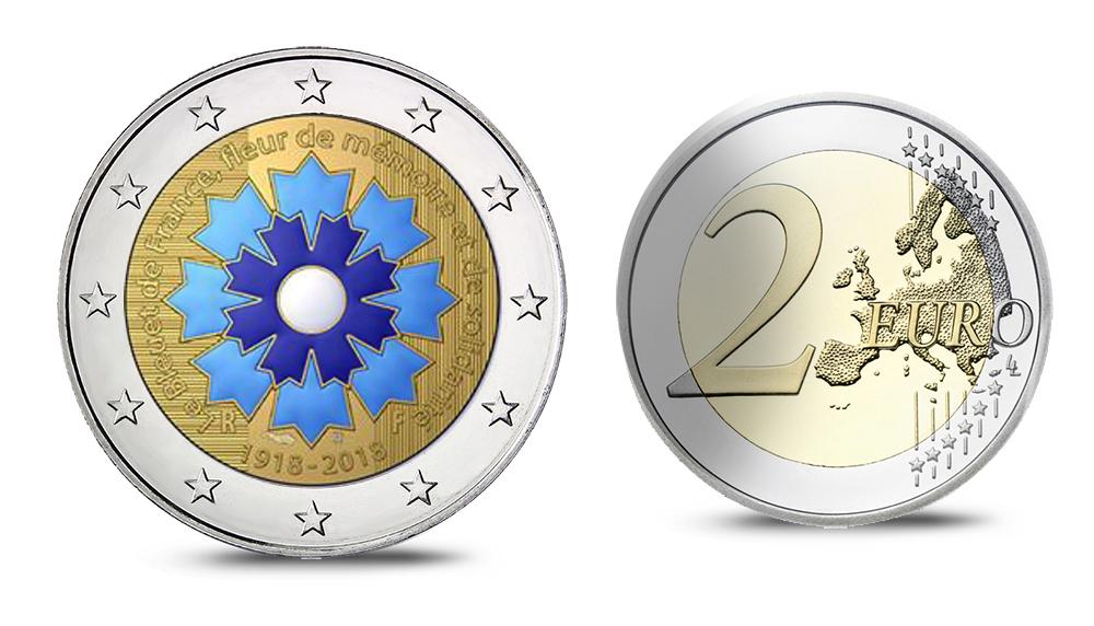2 euro commémorative le bleuet - Pièces 100 ans de l'Armistice - Bleuet - Programme Monnaie de Paris 2018