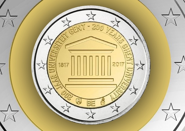 2017 €2 commemorative coin from BELGIUM – GAND UNIVERSITY and end of Belgian mint worshop