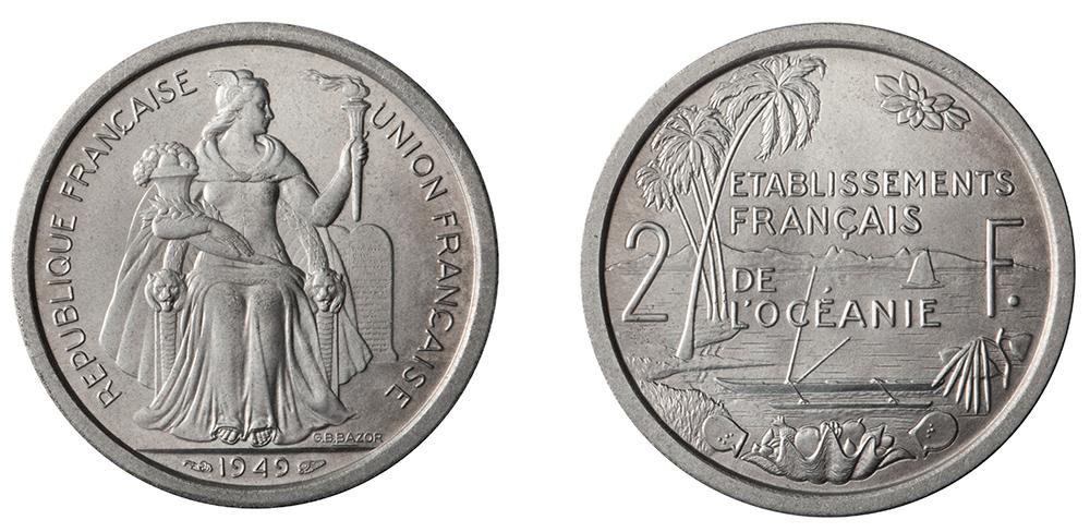 2 francs 1949 Etablissements français de l'Océanie, gravure de Bazor