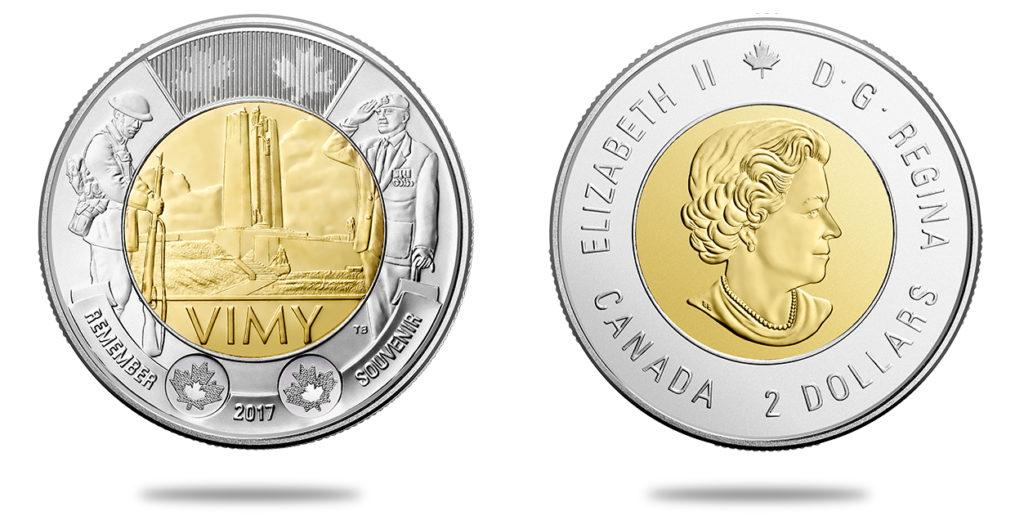 2 dollars en argent 100e anniversaire de la bataille de la crête de Vimy - 2017