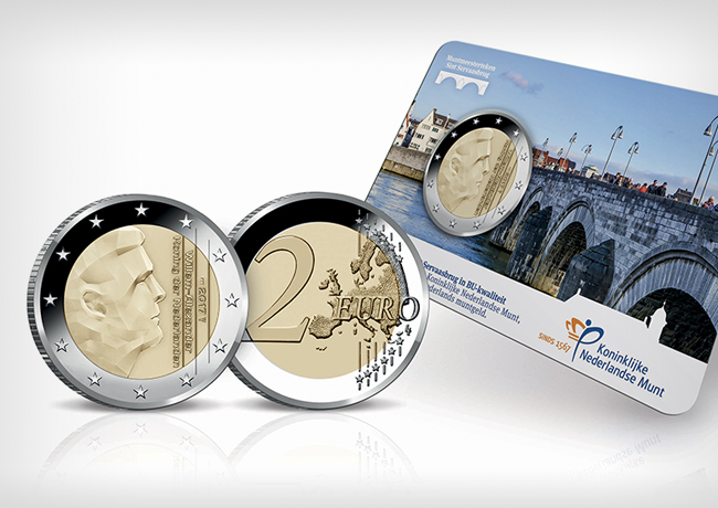 KNM 2017 €2 euro coin -SATIJN mintmark, proof and BU transition coin sets