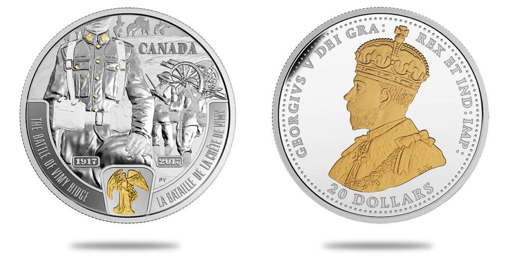 20 dollars en argent 100e anniversaire de la bataille de la crête de Vimy - 2017