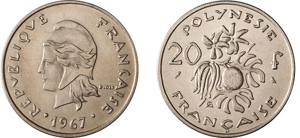 20 francs 1967 gravure de Joly & Guzman