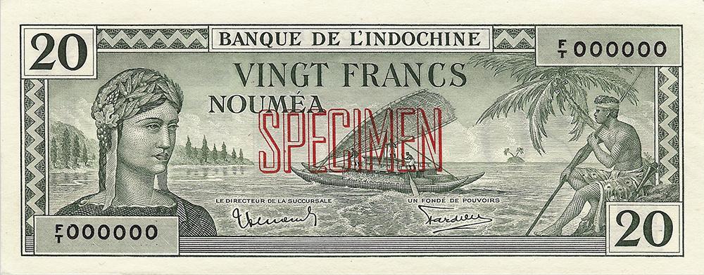 Vingt francs vert Polynésie française Émis en 1944 Impression Australienne - La création du francs CFP et son introduction