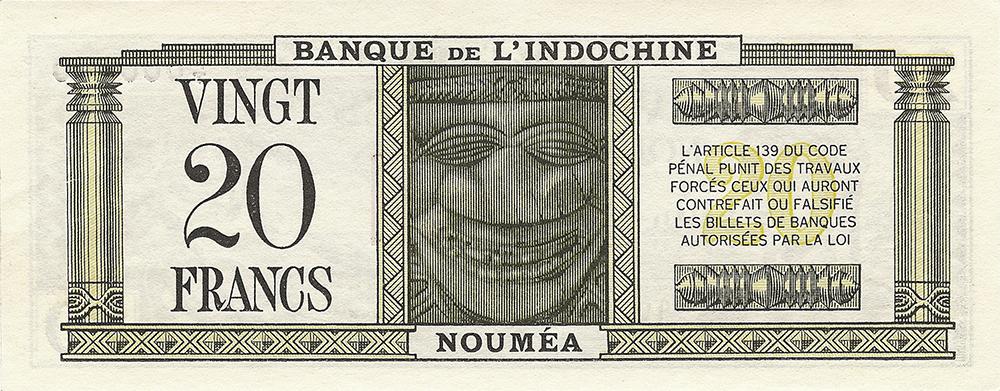 20 francs vert Polynésie française Émis en 1944 Impression Australienne