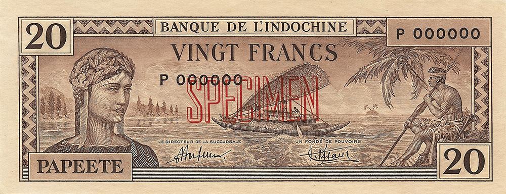 Vingt francs marron Polynésie française Émis en 1944 Impression Australienne - La création du francs CFP et son introduction