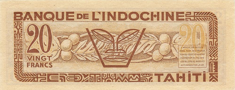 20 francs marron Polynésie française Émis en 1944 Impression Australienne
