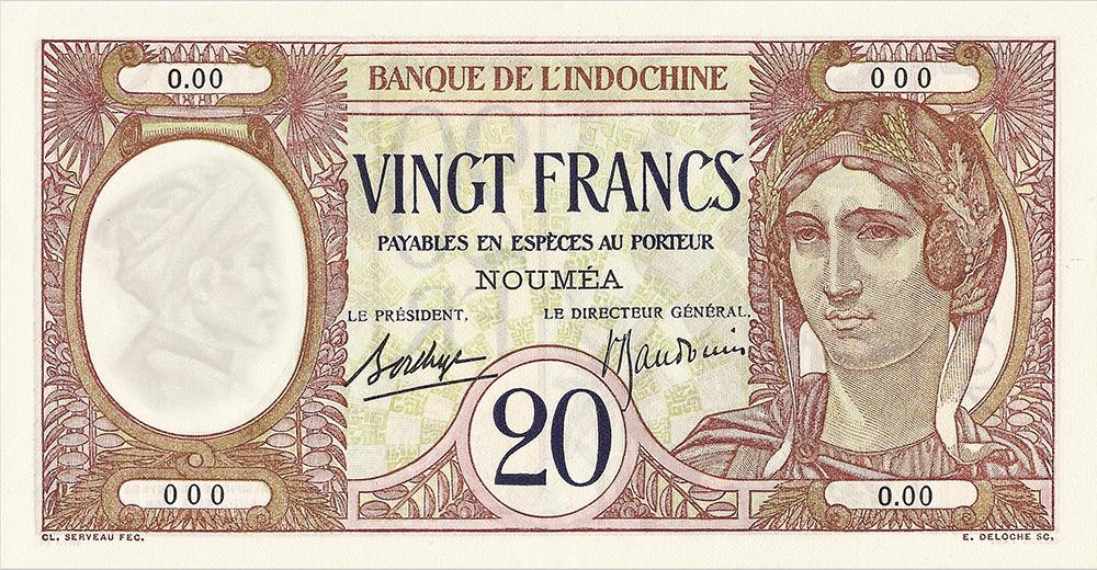 Vingt francs au paon, type 1927 Polynésie française - La création du francs CFP et son introduction