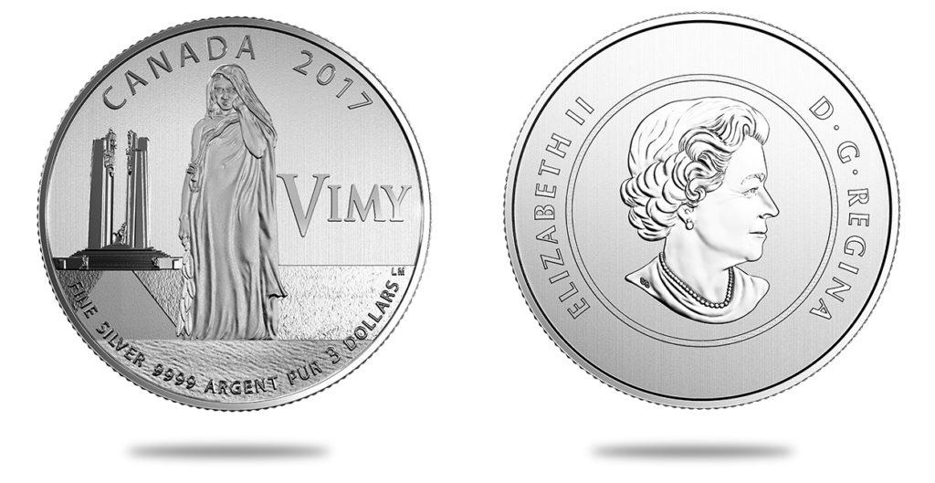 3 dollars en argent 100e anniversaire de la bataille de la crête de Vimy - 2017