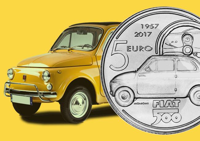 5€ FIAT 500 – 2017 célébrant les 60 ans de la FIAT 500