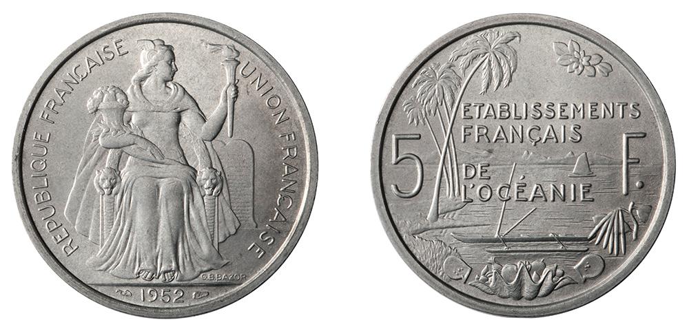 5 francs 1952 Etablissements français de l'Océanie, gravure de Bazor