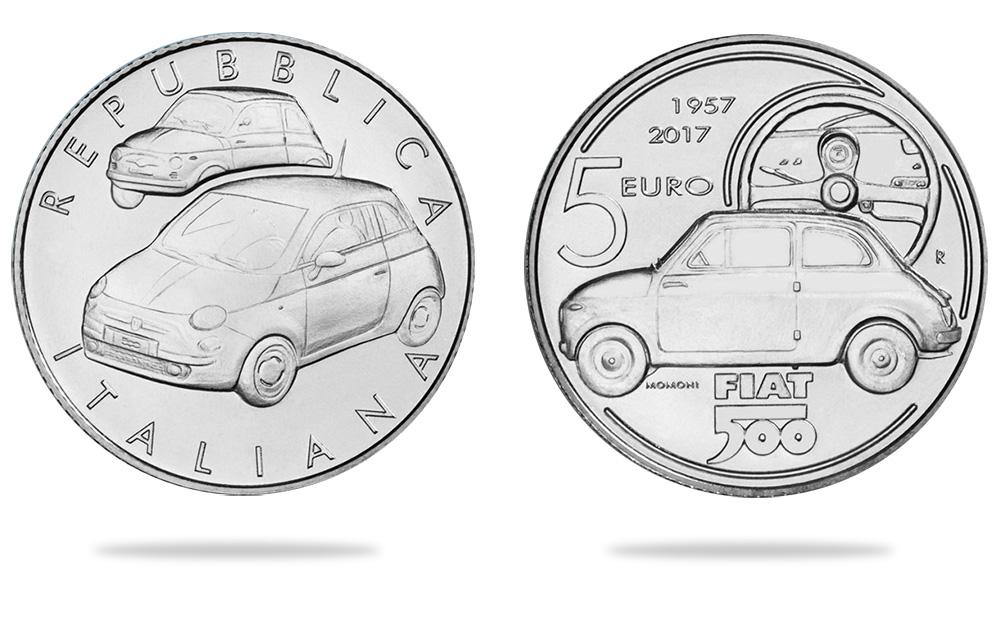 5€ FIAT 500 - 2017 célébrant les 60 ans de la FIAT 500 - instituto poligrafico