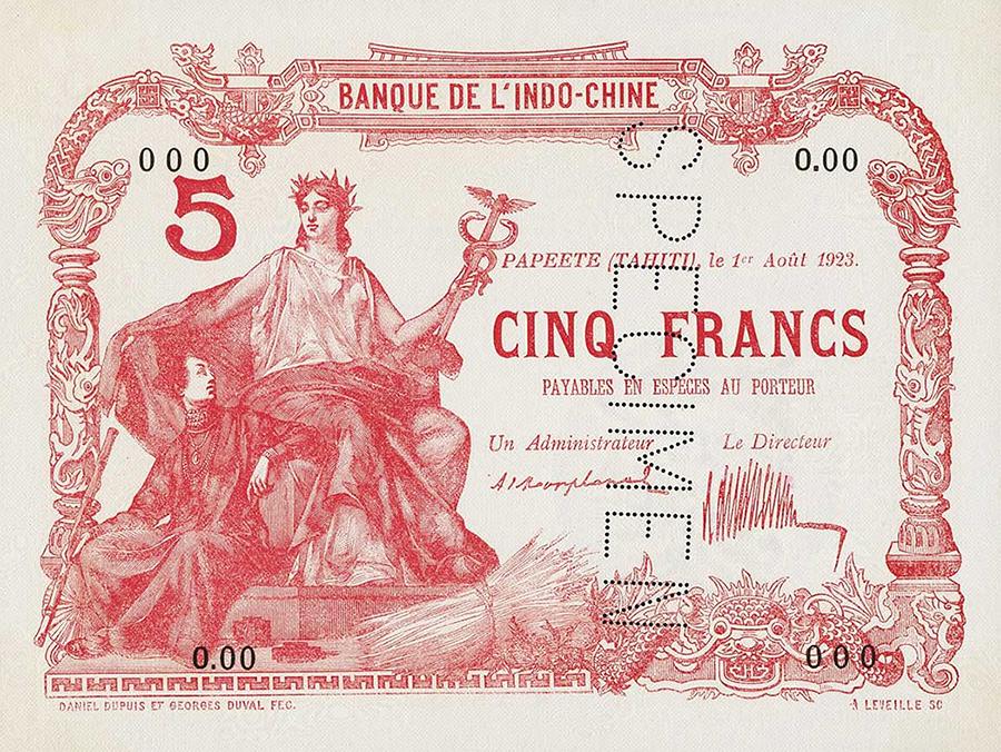 Cinq francs rouge, type 1875 Polynésie française - 1945 - La création du francs CFP et son introduction