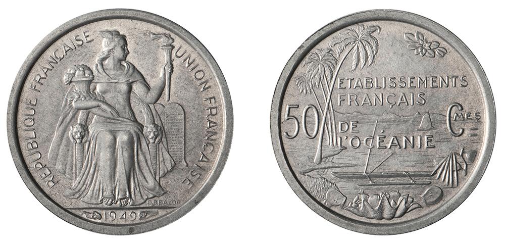 50 centimes 1949 Etablissements français de l'Océanie, gravure de Bazor - La création du francs CFP et son introduction